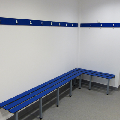 blue changing room bench