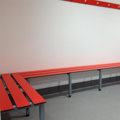 red changing room bench