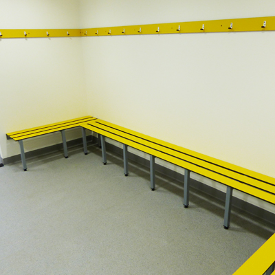 yellow changing room bench