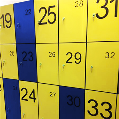 Yellow and Blue Lockers